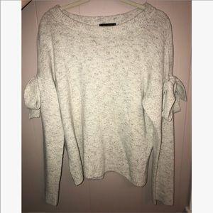 Ann Taylor Heather Gray Bow Sleeve Sweater